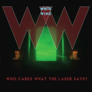 "Cover of the White Wine ""Who Cares What The Laser Says?"" LP showing two big W letters above a green glowing entrance of a temple."