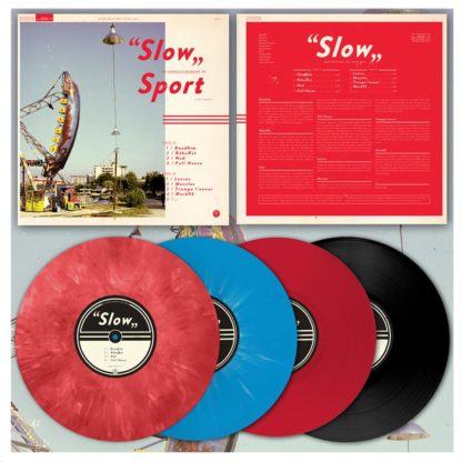 "Mock-up of the Sport ""Slow"" LP showing the front and back of the cover as well as a red-marbled, blue, red and black copy of the record."