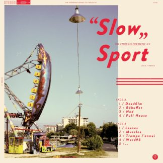 "Front Cover of the Sport ""Slow"" LP with a beige background and red font color, featuring a big swing (multiple seats in a row) as part of an amusement park"
