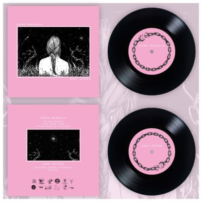 """Mockup of the Drei Affen / Coma Regalia Slit 7"""" show the front and backcover of the records as well as the record itself. It comes on black vinyl with pink labels."""