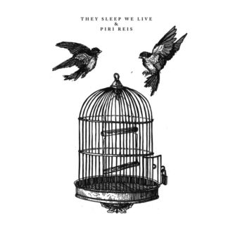 "B/W Cover of the They Sleep We Live / Piri Reis Split 7"" showing two flying birds outside of an empty bird cage."