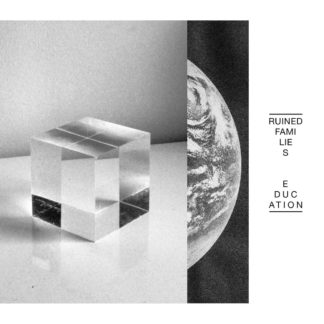 "B/W cover of the Ruined Families ""Education"" LP Cover. It shows a photo of a glass cube, covering another picture of planet earth."