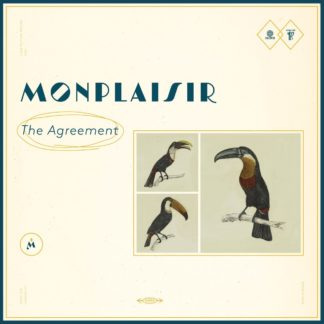 "Cover of the Monplaisir ""The Agreement"" LP. It shows three pictures of parrots next to the band name and album title. Beige background."