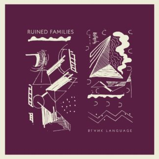 "Cover of the Ruined Families ""Blank Language"" LP shoing some beige graphical drawings on red background."