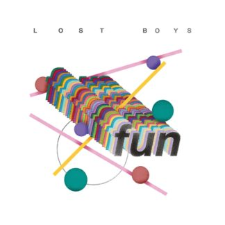 "Cover of the Lost Boys ""Fun"" LP showing different geometric forms on a white background. The album title ""fun"" is written in bold letters on the cover."