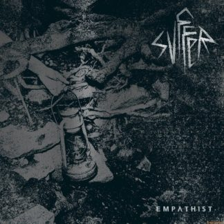 "Cover of the Svffer ""Empathist"" LP showing a noisy photo of a fire site with a broken oil lamp in the center. Bandname in the top right corner."