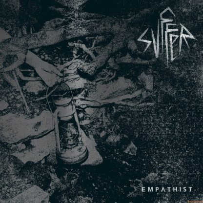 """Cover of the Svffer """"Empathist"""" LP showing a noisy photo of a fire site with a broken oil lamp in the center. Bandname in the top right corner."""