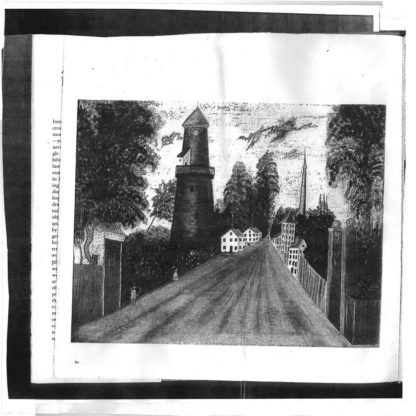 Drawn b/w Cover of the Human Hands / The Blue Period Split LP showing a perspective road with buildings at the left and right