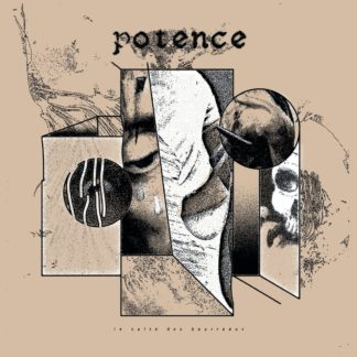"Cover of the Potence ""Le Culte Des Bourreaux"" LP showing boxes / frames with drawings of broken prison bars, a human skull and a crying face on a beige background."