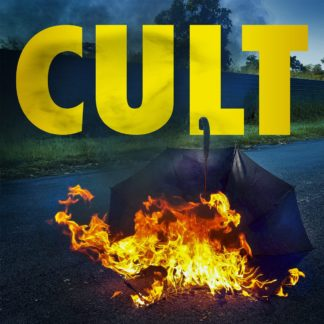 "Cover of the The Caulfield Cult ""Cult"" LP showing a burning umbrella that lies on a blacktop street. The album title ""CULT"" is written in capital, yellow letters on the upper part of the cover."