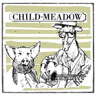 "Cover of the Child Meadow ""Crispy BBQ Tofu Burger"" LP showing a portrait b/w drawing of two animals. One looks like a pig with a beard and big ears and the the other one seems to be a giraffe with glasses and a guitar."