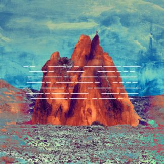 "Cover of the Goodbye Fairground ""I Don't Belong Here Anymore"" LP showing a graphical mountain in a stone desert with a blue sky in the background. A closer look reveals a person standing on top of the mountain."