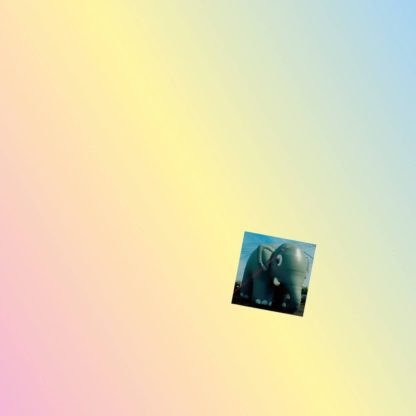 """Cover of the Wolf Mountains """"Superheavvy"""" LP showing a small picture of an inflatable elephant on a linear rainbow color-gradient."""