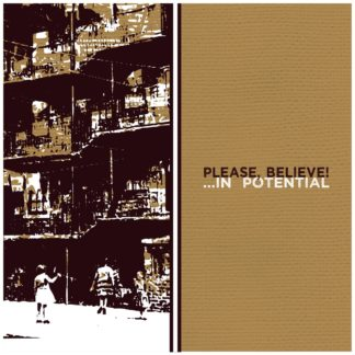 "Cover of the Please, Believe! "".​.​.​In Potential"" LP showing 3 children playing in front of a apartment block. Style: rough print on cardboard."