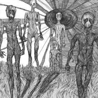 Cover if the MatraK AttaKK / Discordance Split LP. It's a rough b/w ballpen drawing showing a group of alien like persons walking in a field of gras or fire.