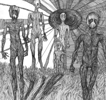 Cover if the MatraK AttaKK / Discordance Split LP. It's a rough b/w ballpen drawing showing a group of alien like persons walking in a field of gras or fire.