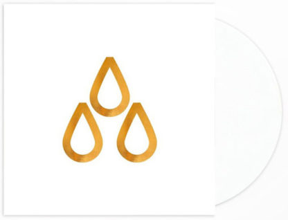 """Mockup of the Deszcz """"III"""" LP showing the cover (with 3 golden drops) and a white vinyl record"""