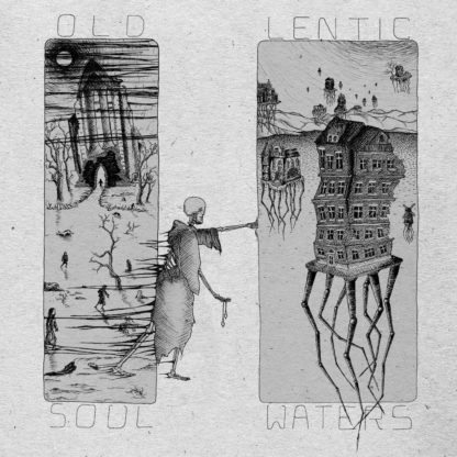 Cover of the Old Soul / Lentic Waters Split LP. Screen print of a skeleton wandering from a graveyard / field to a flying house with roots. Artistic, dark atmosphere.