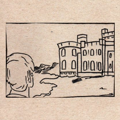 """Cover of the Coma Regalia """"Ours Is The Cause Most Noble"""" double 7"""" with a black screen print on beige cardboard. It shows a drawing of a person looking at a castle."""