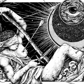 """Cover of the Geraniüm """"Fear is the Enemy"""" LP showing a drawing of a half naked body wearing a blindfold and holding a sword, pierced by arrows"""