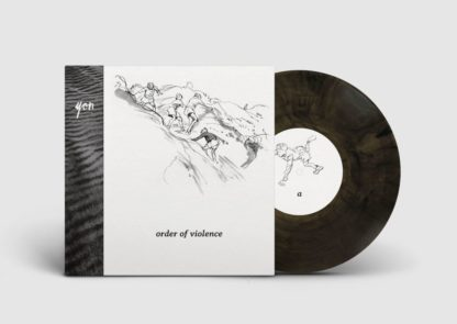 "Mockup of the yon ""order of violence"" LP showing the cover with the clear / black edition of the vinyl."
