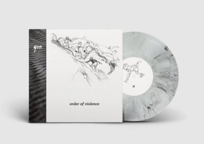 "Mockup of the yon ""order of violence"" LP showing the cover with the white / black edition of the vinyl."