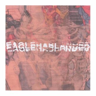 """Cover of the second Eaglehaslanded S/T 7"""" showing a washed out comic scene in the back ground and the brand name written over it."""
