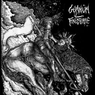 """Cover of the Geraniüm / Finisterre Split 7"""" show a headless king on his horse holding his head in one hand. B/W copperplate print."""