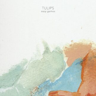"""Cover of the Tulips """"Easy Games"""" LP showing light red, green and blue water colors on rough paper."""